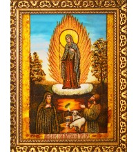 Явление Почаевской Богородицы - икона из янтаря (ар-279)