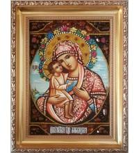 Жировицкая икона Богородицы - икона из янтаря (ар-93)