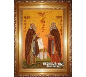 Зосима и Савватий, покровители пчеловодов - Чудесная янтарная икона ручной работы (ар-112)