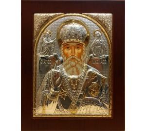 Святой Николай Чудотворец - Икона в рамке из дерева 156*190 мм (009KRG)