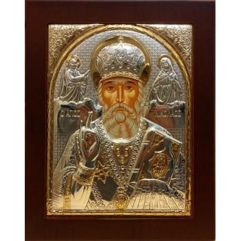Святий Миколай Чудотворець - Ікона в рамці з дерева 156*190 мм (009KRG)