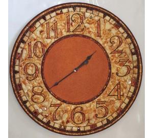 Часы из янтаря - красивые настенные часы с натуральным янтарем (rb-0005)