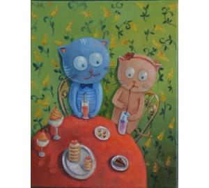 Чаепитие - необычная контрастная картина (сч-20)