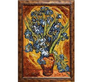 Ирисы - картина из янтаря (rb-05)