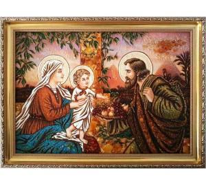 Картина Cвятое Cемейство - янтарная картина, ручной работы (RB-56)