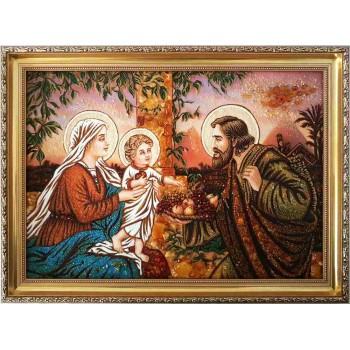 Cвятое семейство - картина из янтаря, ручной работы
