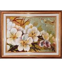 Картина из натурального янтаря Цветочная нежность (rb-60)