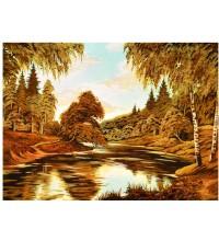 Картина з бурштину берези біля річки (rb-22)