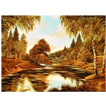 Картина из янтаря березы у реки (rb-22)