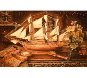 Картина из янтаря Кораблик (rb-16)