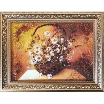 Картина из янтаря Корзинка с цветами (rb-58)