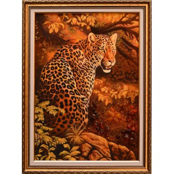 Картина из янтаря Леопард (rb-31)