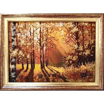 Картина из янтаря пейзаж (березы) (rb-57)