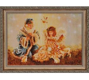 Картина из янтаря Святой Николай и дети (rb-08)