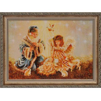 Картина з бурштину Святий Миколай і діти (rb-08)