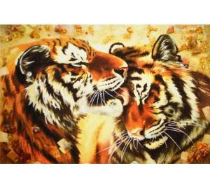 Картина из янтаря Тигры (rb-21)