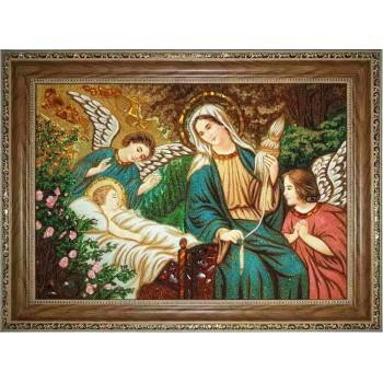 Картина с янтарем Богородица и Иисус (rb-45)