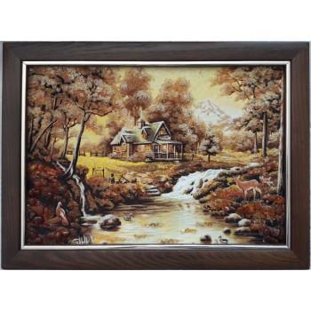 Картина с янтарем Домик у реки (rb-49)