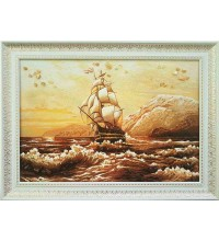 Картина з бурштином Корабель і море (rb-44)