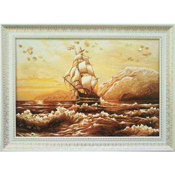 Картина с янтарем Корабль и море (rb-44)