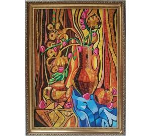 Картина с янтарем в стиле абстракции Ваза с цветами (rb-39)