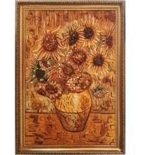 Картина з бурштином Ваза з соняшниками (rb-43)