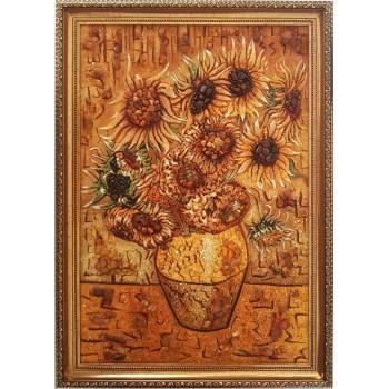 Картина с янтарем Ваза с подсолнухами (rb-43)
