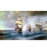 Копія картини В. Айвазовського Бриг Меркурій атакований двома турецькими кораблями (сч-33)