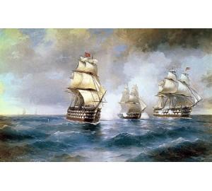 Копия картины И. Айвазовского Бриг Меркурий атакован двумя турецкими кораблями (сч-33)