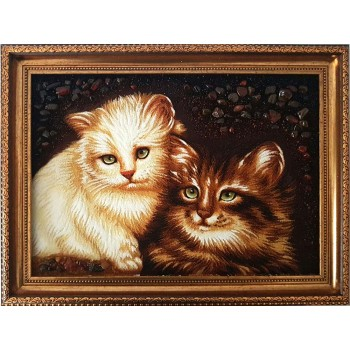 Котята - картина с натуральным янтарем (rb-37)