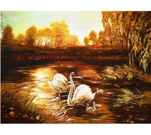 Лебеди - картина из янтаря (rb-17)