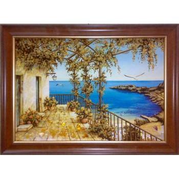 Морской пейзаж - картина из янтаря (rb-02)