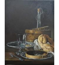 Натюрморт с кренделем - копия картины Луиса Мелендеса  (сч-40)
