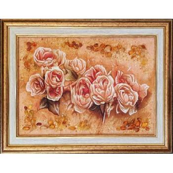 Нежная картина с янтарем Розы (rb-55)