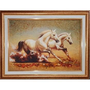Панно из янтаря Бегущие белые лошади (rb-61)