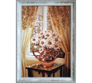 Ромашки - картина из янтаря (rb-47)