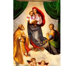 Сикстинская Мадонна в украинском стиле - картина из янтаря (rb-01)