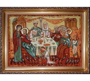 Весілля в Кані Галілейській - картина з бурштину (ар-365)