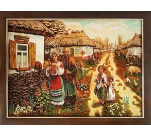 Украинские мотивы - картина из янтаря, ручной работы (RB-52)