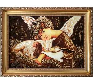 Бурштинова картина Янголятко - красива картина ручної роботи (rb-54)