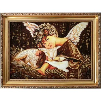 Янтарная картина Ангелочек - красивая картина ручной работы (rb-54)
