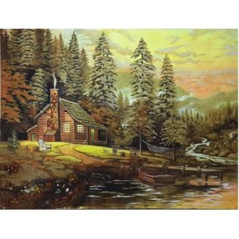 Янтарная картина Пристань у дома (rb-06)