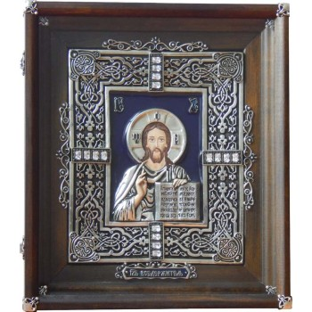 Иисус Христос - красивая подарочная икона с серебром (Ос-Гс22)