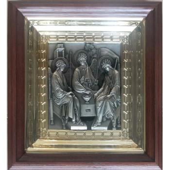 Икона Святая Троица - икона с серебром, в дубовом киоте (юл-05/1)