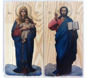 Иконы Господь Вседержитель и Божья Матерь Благодатное Небо - иконы под старину (ХМ-107)