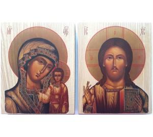 Иконы под старину Господь Вседержитель и Казанская Богородица - иконы для свадьбы (ХМ-100)