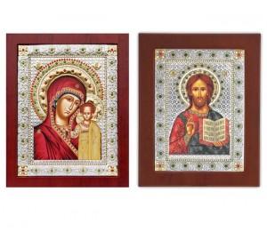 Спаситель і Богородиця Казанська - Вінчальна пара ікон з камінням (EKBXAG99)