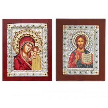 Спаситель и Богородица Казанская - Венчальная пара икон с камнями (EKBXAG99)