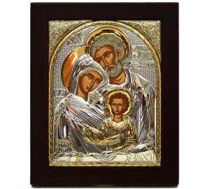Святое Семейство - Греческая икона в квадратной рамке из дерева (EK015R)