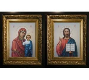 Венчальная пара писаных икон Спаситель и Божья Матерь (сч-08)